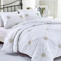 California Design Tahiti Pearls King Duvet Cover Set in White/Gold