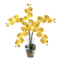 Nearly Natural 27-Inch Phalaenopsis Liquid Illusion Silk Flower Arrangement in Yellow