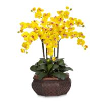 Nearly Natural 30-Inch Large Phalaenopsis Orchid Silk Flower Arrangement in Yellow