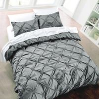 Diamond Pintuck Full/Queen Duvet Cover Set in Charcoal
