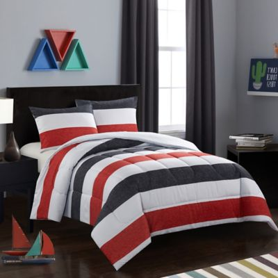 American Kids Jayden 2 Piece Twin Comforter Set In Red/Black