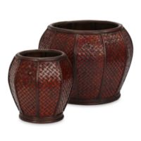 Nearly Natural 9-11-Inch Rounded Weave Decorative Planters (Set of 2)