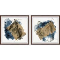 Marmont Hill Layered Brush Strokes 24-Inch x 12-Inch Framed Diptych Wall Art (Set of 2)