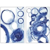 Marmont Hill Blue Circle 32-Inch x 24-Inch Framed Diptych Wall Art