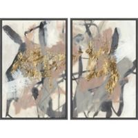 Marmont Hill Golden Strokes 32-Inch x 24-Inch Framed Diptych Wall Art