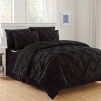 Hi-Loft Luxury Pintuck 6-Piece Twin/Twin XL Comforter Set in Black