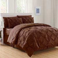 Hi-Loft Luxury Pintuck 6-Piece Twin/Twin XL Comforter Set in Chocolate Brown