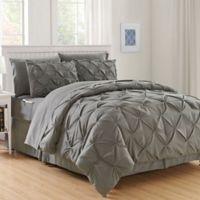 Hi-Loft Luxury Pintuck 8-Piece King/California King Comforter Set in Grey