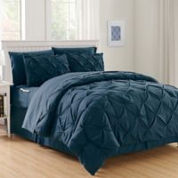 Hi-Loft Luxury Pintuck 8-Piece Full/Queen Comforter Set in Navy/Blue