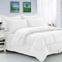 Elegant Comfort Dobby Stripe 8-Piece Full/Queen Comforter Set in White