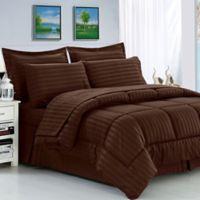 Elegant Comfort Dobby Stripe 8-Piece Full/Queen Comforter Set in Chocolate