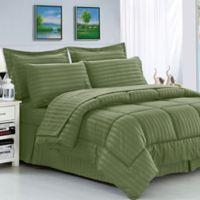 Elegant Comfort Dobby Stripe 8-Piece King/California King Comforter Set in Sage
