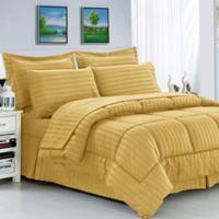 Elegant Comfort Dobby Stripe 8-Piece King/California King Comforter Set in Gold