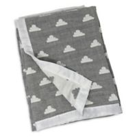 Living Textiles Clouds Muslin Jacquard Baby Blanket in Light Grey