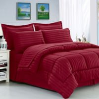 Elegant Comfort Dobby Stripe 8-Piece King/California King Comforter Set in Burgundy