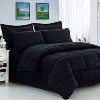 Elegant Comfort Dobby Stripe 8-Piece King/California King Comforter Set in Black