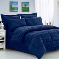 Elegant Comfort Dobby Stripe 8-Piece King Comforter Set in Navy