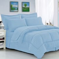 Elegant Comfort Dobby Stripe 8-Piece Full/Queen Comforter Set in Aqua