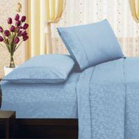 Elegant Comfort Floral Embossed King Sheet Set in Light Blue