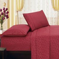 Elegant Comfort Floral Embossed King Sheet Set in Burgundy