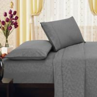 Elegant Comfort Floral Embossed Full Sheet Set in Grey