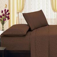 Elegant Comfort Floral Embossed King Sheet Set in Chocolate