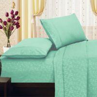 Elegant Comfort Floral Embossed King Sheet Set in Turquoise