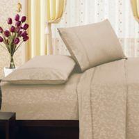 Elegant Comfort Floral Embossed King Sheet Set in Taupe