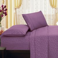Elegant Comfort Floral Embossed King Sheet Set in Purple