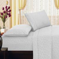 Elegant Comfort Floral Embossed King Sheet Set in White