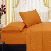 Elegant Comfort Floral Embossed King Sheet Set in Orange