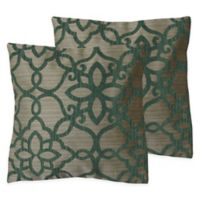 Scroll Square Throw Pillows in Spa (Set of 2)
