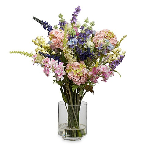 Nearly Natural Lavender Hydrangea Silk Flower Arrangement Bed Bath Beyond