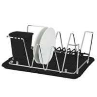 Macbeth Collection Compact Dish Rack in Matte Black/Chrome