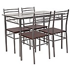 Flash Furniture Murray Hill 5-Piece Glass Dinette Set in Silver