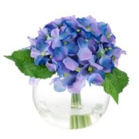 Pure Garden Artificial Hydrangea Floral Arrangement in Purple with Glass Sphere Vase