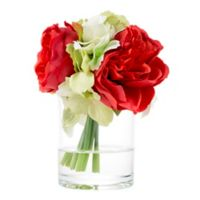 Pure Garden Artificial Hydrangea and Rose Floral Arrangement in Red with Glass Vase