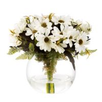 Pure Garden Artificial Daisy Floral Arrangement in White with Glass Sphere Vase