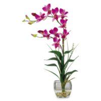 Nearly Natural 22-Inch Dendrobium Liquid Illusion Silk Faux Flower Arrangement in Purple
