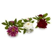 Nearly Natural 6-Inch Peony w/ Glass Vase (Set of 3)