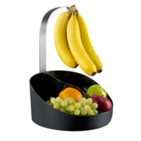 Prodyne Bravada Fruit Bin with Banana Hanger in Black/Silver