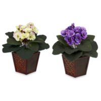 Nearly Natural African Violet w/ Vase Silk Plant (Set of 2)