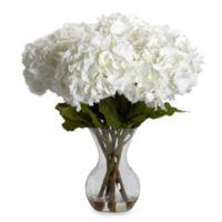 Nearly Natural Large Hydrangea w/ Vase Silk Flower Arrangement