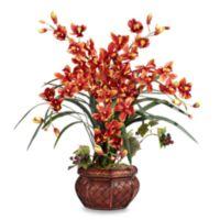 Nearly Natural 30-Inch Cymbidium w/ Decorative Vase Silk Arrangement - Burgundy