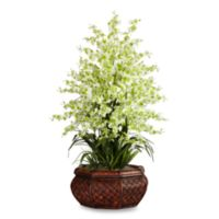Nearly Natural 36-Inch Faux Dancing Lady Floral Arrangement with Round Planter in Green