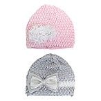 Stepping Stones Newborn 2-Pack Cap Set in Pink/Grey