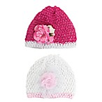 Stepping Stones Newborn 2-Pack Cap Set in White/Fuchsia