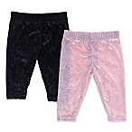 Capelli New York Size 0-6M 2-Pack Crushed Velvet Leggings in Pink/Black