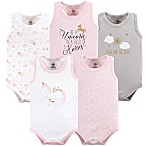 Yoga Sprout Unicorn Size 0-3M 5-Pack Sleeveless Bodysuits in White