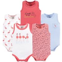 Yoga Sprout Size 0-3M 5-Pack Sleeveless Flamingo Bodysuits in Pink